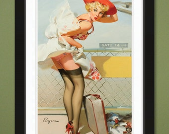 Gil Elvgren – Up in the Air – Whooooooosh! 1965 (12x18 Heavyweight Art Print)