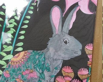Rabbit in the Garden Water Color Art