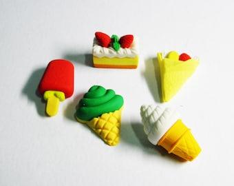 Set Of 5 Kawaii Cute Erasers,Fast Food Erasers,Japanese Erasers,Cakes,Pie,Taco,Sundae,Ice Cream,Popsicle,Deserts Eraser,Collectibles,Iwako
