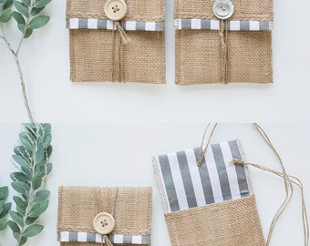 Grey & White Stripes Burlap USB Packaging Pouch