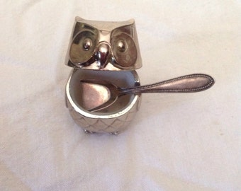 Vintage Individual Salt In The Shape Of An Owl.