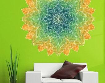 kcik1431 Full Color Wall decal beautiful bright leaves mandala meditation room yoga room