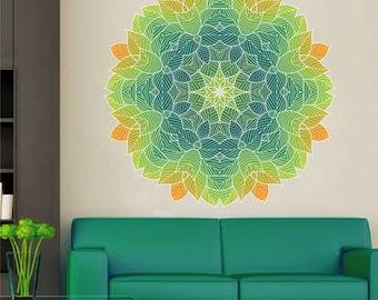 kcik1432 Full Color Wall decal beautiful bright leaves mandala meditation room yoga room