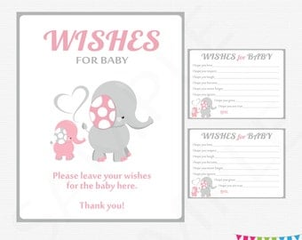 Pink and Gray Elephant Baby Shower, Girl Baby Shower, Wishes for Baby Girl Card + Sign, Printable Baby Shower Wish Cards Download EL0005-lp
