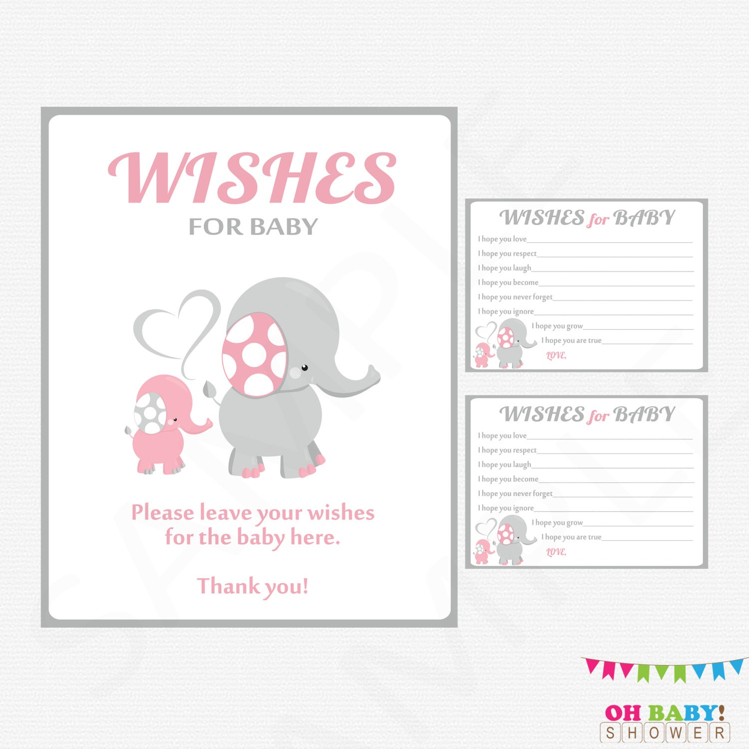 Baby Shower Cards Messages: Pink And Gray Elephant Baby Shower Girl Baby Shower Wishes
