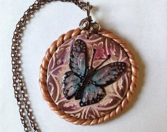Butterfly pendant of polymer clay