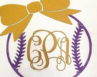 Softball Monogram Bow Decal
