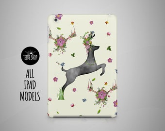 Deer Horns iPad Case Flowers iPad Mini Case iPad Mini 3 4 Cover iPad Cover iPad Air 2 Case iPad Sleeve Birthday Gift Idea iPad 3 4 Case
