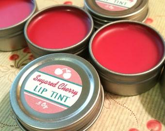 Sugared Cherry Lip Tint / Natural Lip Tint / Organic Lip Gloss / Lip Gloss - Extra Large 1/2 oz. Tin