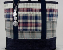 Mad about Plaid, Extra large tote bag, Quilted, Denim lined, Heavy duty tote, Plaid Tote, Unique Tote, Large Tote, Lined Tote bag