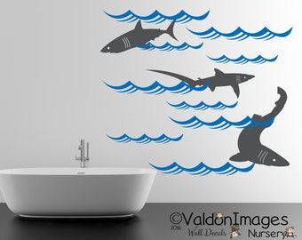 Sharks Nursery Wall Decal, Ocean Wall Decal, Nautical Wall Decal, Sea Wall  Decal Part 63