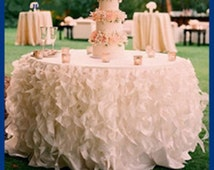 Curly Willow Ruffles tablecloth, Wedding Tablecloth, Rental tabecloth available, Sweetheart Table tablecloth, Wedding Cake table Tablecloth