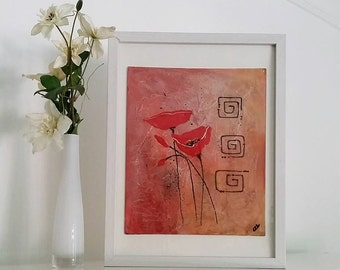 Friends Poppies, Acrylic Poppies Painting on Canvas Board with White Wooden Frame, Original Artwork by Cinzia Mancini Art
