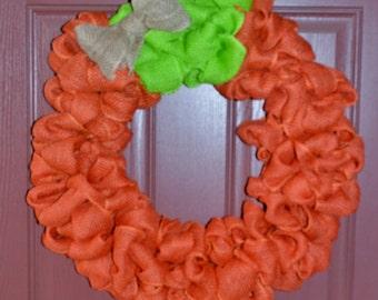 Large Pumpkin Burlap Wreath