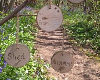 Wood disc personalised keyring/tag natural, rustic