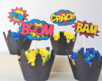 Superhero Cupcake Topper, Superhero Cupcake Pick, Superhero Birthday Party, Superhero Baby Shower, Superhero Party,Comic Book Decor Set of 8