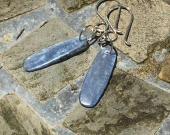 Genuine Blue Kyanite Sterling Silver Dangle  Earrings