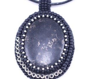 Pyrite in Agate Embroidered Pendant