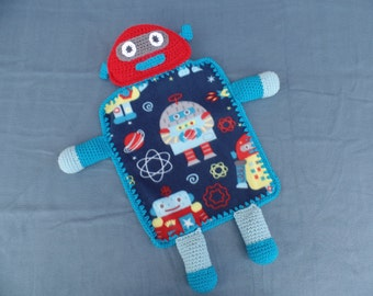 Robot Fleece and Crochet Lovey Blanket