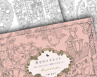 Japanese Menuet de Bonheur Colouring Book // Nature Animal Wildlife Woodland Bird Flower Garden Four Seasons Minuet Moment of Happiness.. //