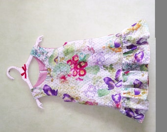 Flying trapeze dress 12/24 months in cotton flowers and colorful