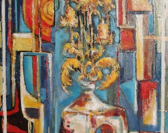 Contemporary European cubist oil painting still life