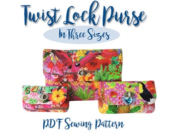 Purse Pattern. Twist lock PDF wallet pattern in 3 sizes. Twist lock pouch. Bag sewing pattern