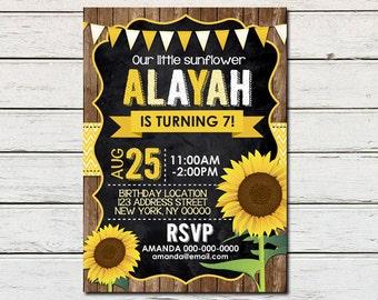 Sunflower Girl Printable Birthday Invitation - DIY - PDF & JPG Files only