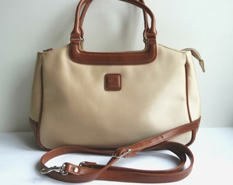 Beige Handbag With Leather Handles And Trim By Yves Carreau