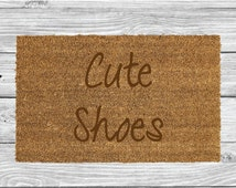 Cute Shoes Funny Laser Engraved Door Mat, Personalised Welcome Mat, Natural Coco Fiber, Coir Mat, FM114