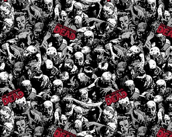 Skybound The Walking Dead Knit from Springs Creative -zombies, undead, comics black and white with red words