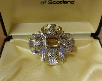 Gleneagles of Scottland Kilt Silver/ Citrine Stone Pin