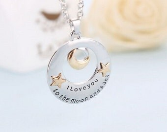 I love you to the moon and back necklace on fine chain