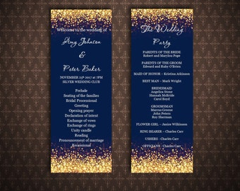 Gold And Navy Wedding Program Templates Glitter Sparkles Instant Download Printable