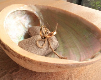 Wedding - Unique Shell Ring Bearer Bowl with Ring Cushion - Natural Abalone
