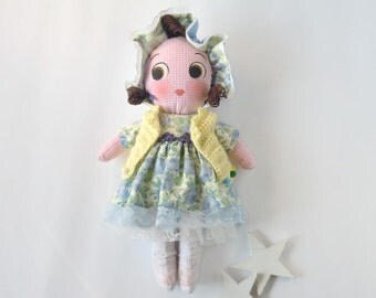 Handmade Cloth Doll,Soft Rag Doll,9 Inch Doll,Blue Yellow Dress Doll,Handpainted Rag Doll,Removable Dress Doll,One In Stock,Ready To Ship.