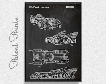 Batmobile Patent Print, Batman Room Decor, Batman Wall Decor, Batman Wall Art, Batman and Robin