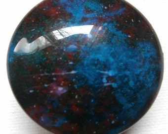 Custom made One of a Kind Furniture and Cabinet Knobs-Teal and Red Galaxy