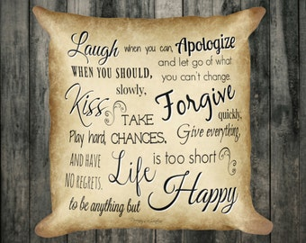 Laugh Love Kiss Happy/Decorative Pillow/Throw Pillow/Custom Pillow/Double sided/18x18/