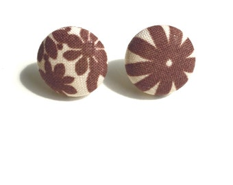 Brown & Tan Floral Fabric Button Earrings
