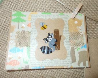 Woodland Creatures- raccoon- greeting cards