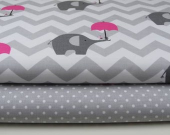 Gray elephant fabric cotton baby gray chevron nursery fabric cotton ,patchwork , quilting fabric Cotton 100% , 62 Inches Wide - By the Yard