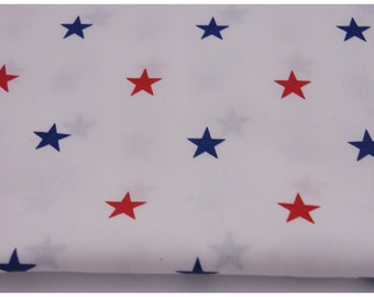 Cotton 100% stars red, navy on white background Fabric - 62 Inches Wide - By the Yard