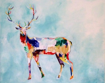"Abstract, stag, buck, colorful, oil painting, 20"" x 24"" canvas"