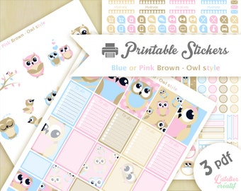 Owl pink, blue, brown, beige |Printable stickers | 3 pdf | Instant download | Planner, Happy planner