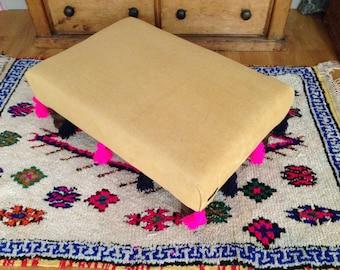 Bespoke Small Custom Footstool Ottoman Made to Order Mustard Yellow Liberty Fabric Navy Blue Pink Tassel Pom Pom Trim
