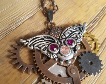 Steampunk Cogs and Wings Pendant