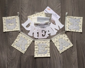 DREAM bunting kit, sparkly bunting, DIY bunting kit, make your own bunting, glitter bunting kit, DIY sparkly bunting, dream banner kit