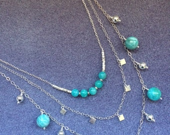 Amazonite and Sterling Silver 3 Strand Necklace