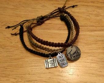 Travel Themed Hemp Friendship Bracelet